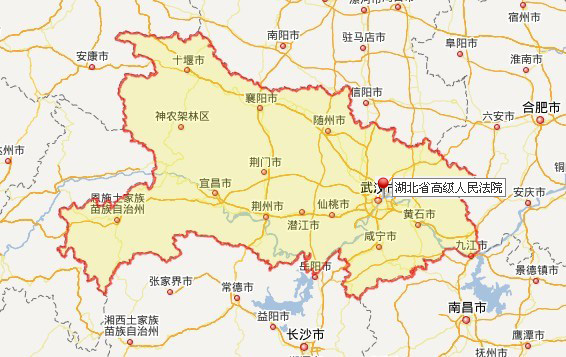 湖北省高级人民法院地图位置